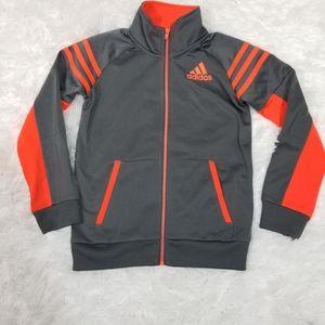 Boys Adidas Track Jacket Grey/neon orange sz 5